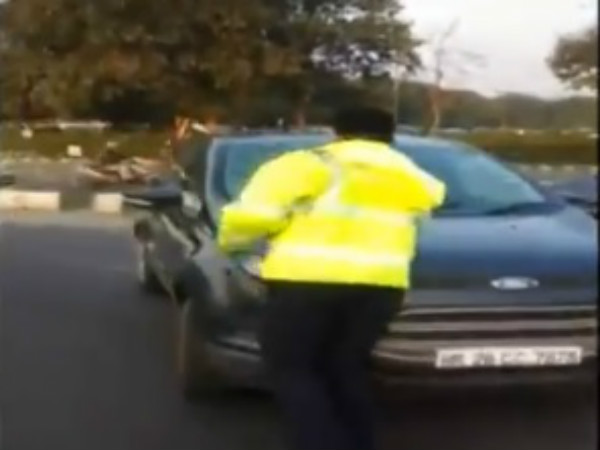 Viral video: Haryana man dragged traffic police on bonnet of his car