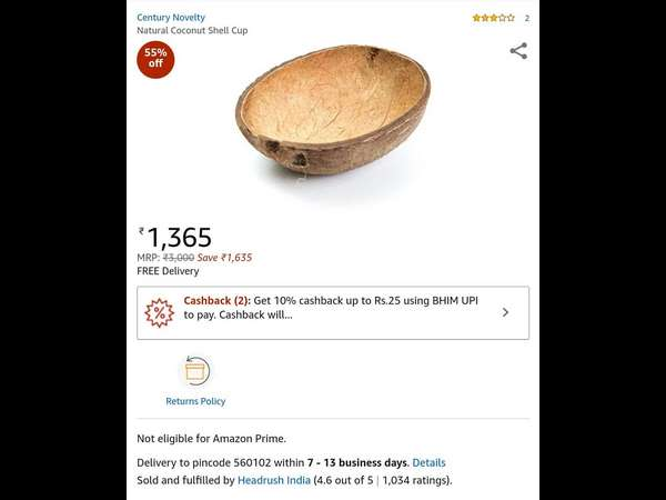 Amazon selling coconut shels over 1200