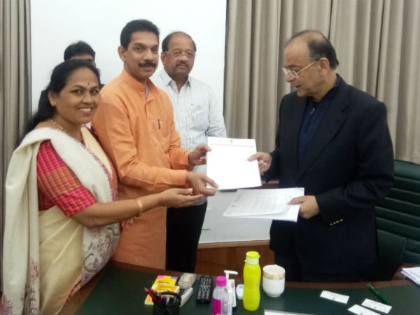 MP delegation meet Arun Jaitly over Vijaya Bank merger issue