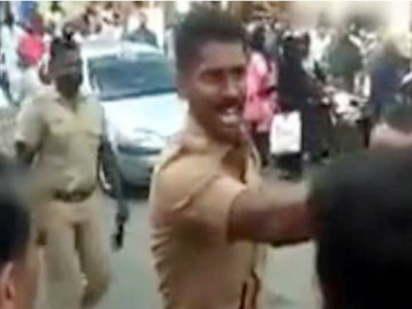 Tamilnadu cop stopped stone pelters alone, video viral