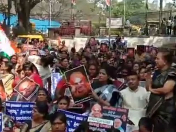 Congress stage protest against central government over bharat ratna