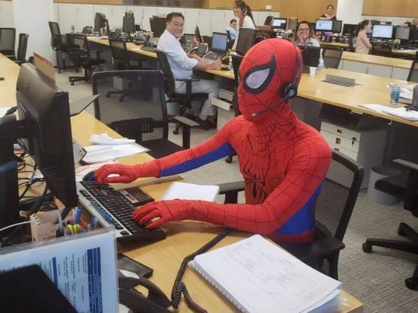 Banker dresses up as Spider-Man on the last day of work