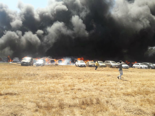 Fire in parking lot in aero india show temporarily stopped