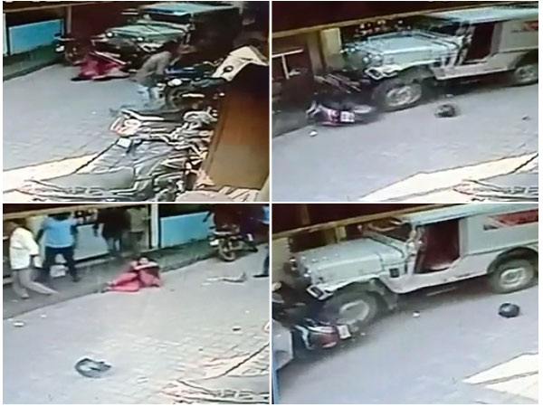 Woman and child miraculous escape after a jeep drives over them