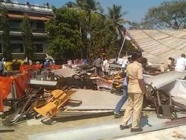 The main stage of the Pancha mahavibhava collapsed in Dharmasthala