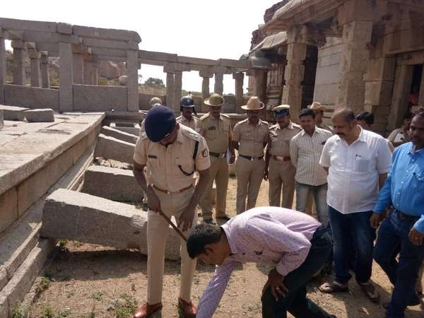 Finally Four men re-erect the pillars they vandalised at temple complex