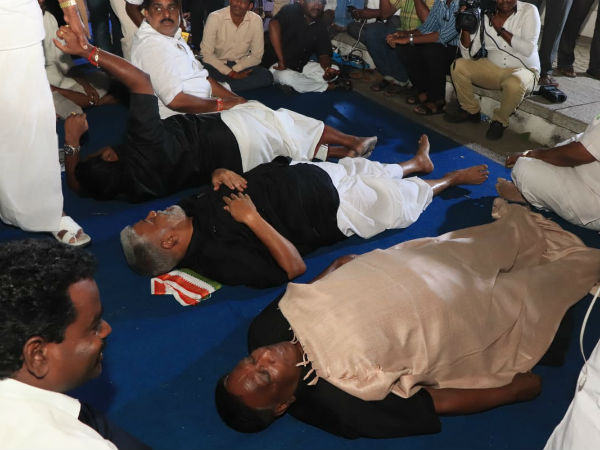 Puducherry CM, cabinet and MLA protesting against Lieutenant Governor