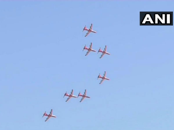 Aero india 2019, IAF surya kiranteam pays tribute to wing commnder sahil gandhi