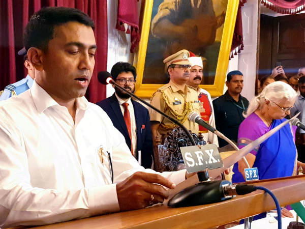 Pramod Sawant takes charge as CM of Goa, floor test on Wednesday