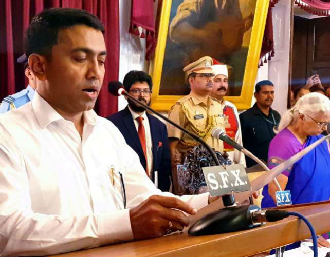 BJP Pramod sawant took oath at 2 am as goa chief minister along with 12 ministers