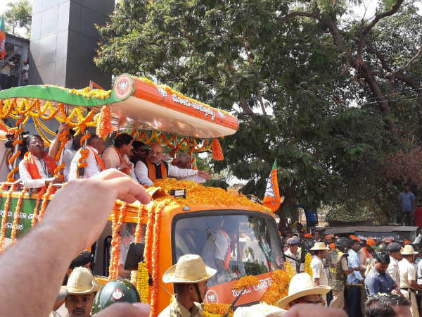 BJP president Amit Shah road show in Tumkur and Davanegere