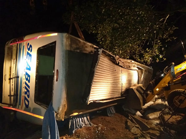 Three people were died in a private bus accident near Sagar