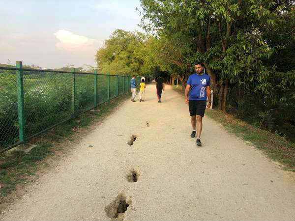 Small cracks spotted in walkers path in Kukkarahalli lake