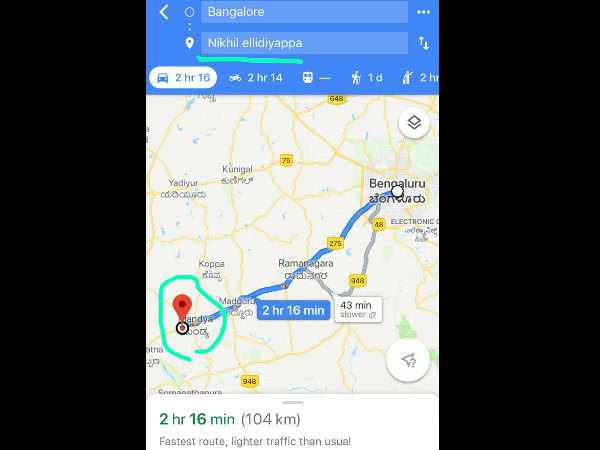 Google removed Nikhil ellidiyappa locations from its map