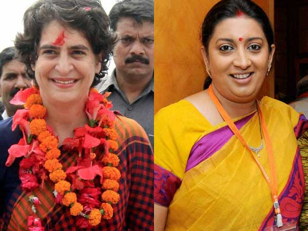 Priyanka Gandhi and Smriti Irani in Wayanad today