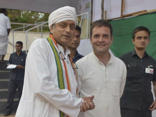 Injured Shashi Taroor attends a rally in kerala, Rahul praises him