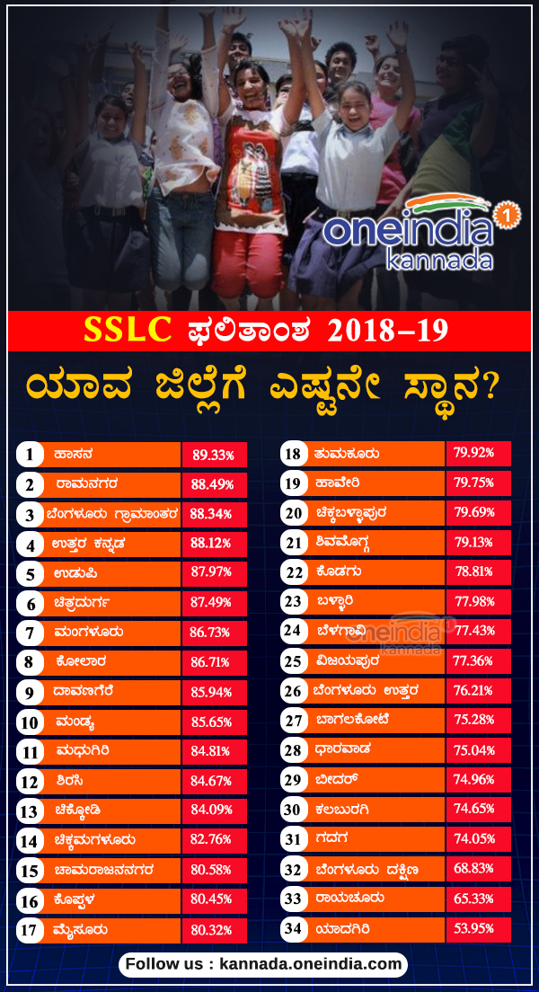 Karnataka SSLC results 2019: District wise percentage Infographics