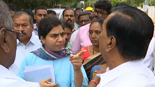 Verbal war between Ayanur Manjunath and Shivamogga city commissioner