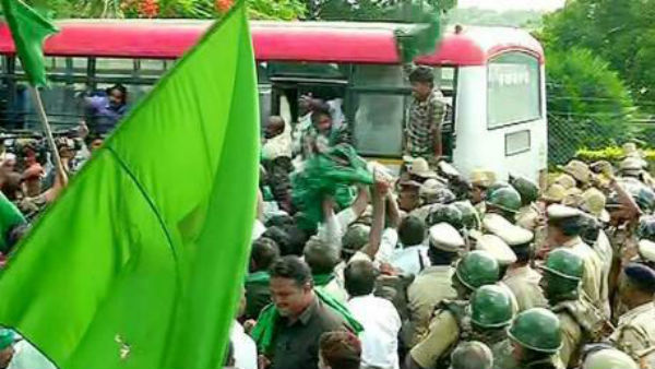 Hundreds of farmers detained for protesting infront of KRS