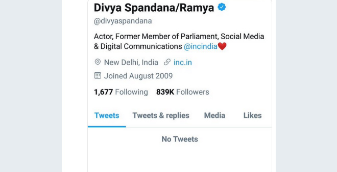 Congress Social Media wing chief Divya Spandana Tweets deleted