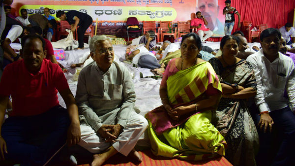 BJP overnight protest against government decision to handing over the property to Jindal: Shobha Vs Siddaramaiah twitter war