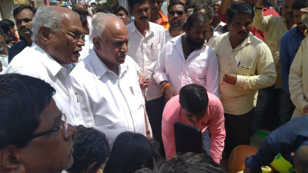 Yeddyurappa visited Siddaramaiahs consitituency Badami for drougt inspection