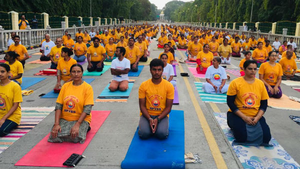 Yoga rehearsal held ahead of International Yoga Day in Mysore