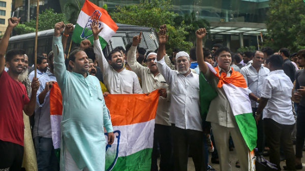 Congress protest outside the Mumbai hotel of Karnataka dissent MLAs staying