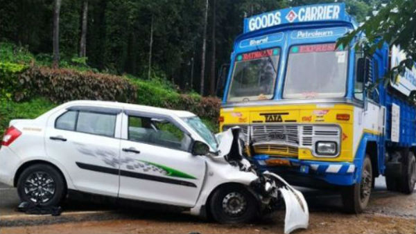 two died in accident between lorry and car near madikeri