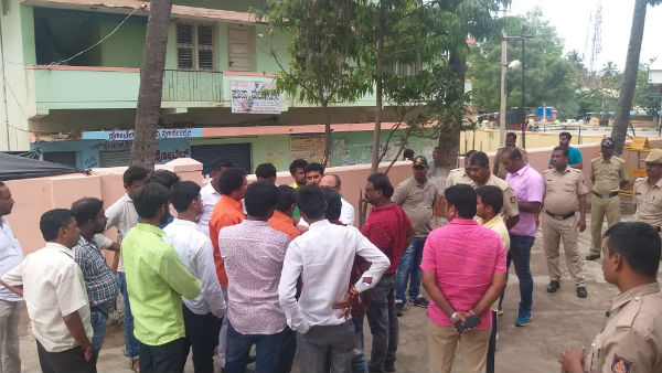 fight among the coalition party supporters in ramanagar