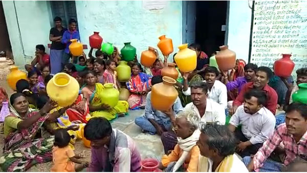 protest for water in siruguppa village ballari