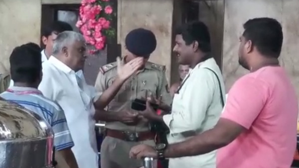 PWD minister HD Revanna abused journalists in Kateel Durga Parameshwari temple