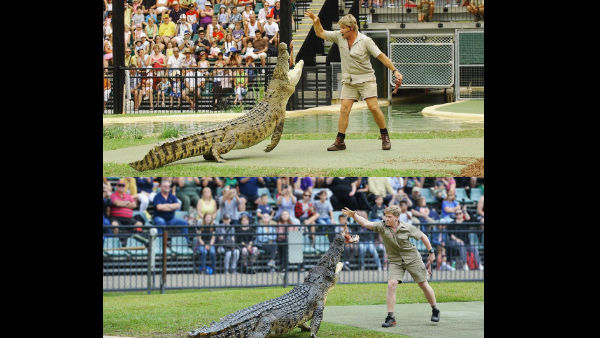 Steve irwin son robert clarence irwin recreates pitcure in same place same crocodile