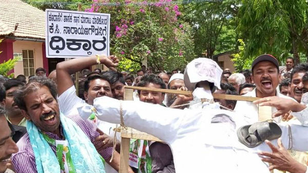 jds activists protest against narayanagowda in kr pete