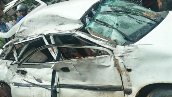 Private Bus Met Accident With Car; Driver Died