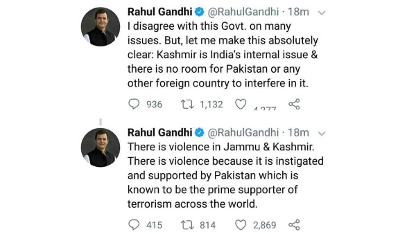 Rahul Gandhi tweet about Kashmir and Pakistan terrorism