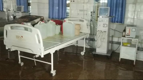 Rain water Rushed To Dialysis Center In Karwar Hospital