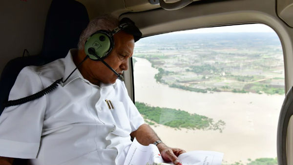 Yediyurappa Conducts Aerial Survey Of Rain Hit Areas Of North Karnataka