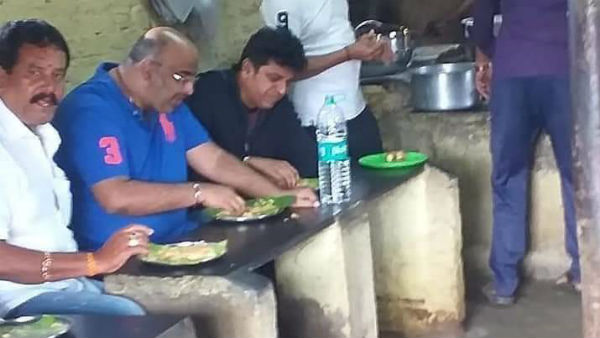 Actor Shivrajkumar Eater Butter dosa in shed hotel at Malavalli