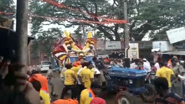 Ganesha Idol Fell While Dispute Between Police And People In Channagiri