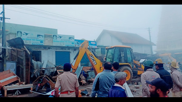 Demolition Of Illegal Shops In Chamundi Hills