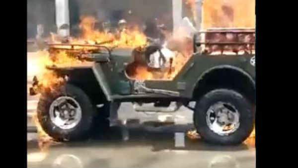 Man From Gujarat Set Ablaze His Own Jeep