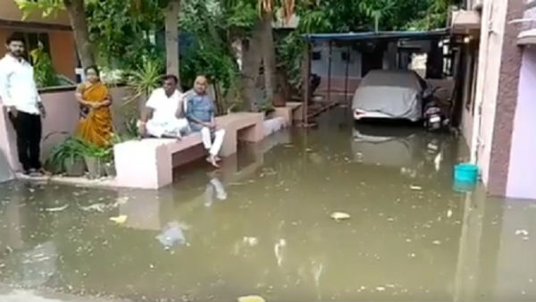 Drainage Water Rushed To MLA Somashekhara Reddy House In Ballary