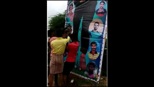 Sudeep Fan Slaughter Sheep And Pour Blood On Sudeep Poster In Davanagere