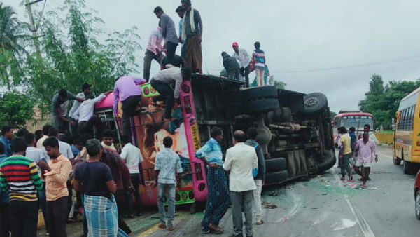 6 Dead 20 Injured In A BUS Accident Near Tumkur