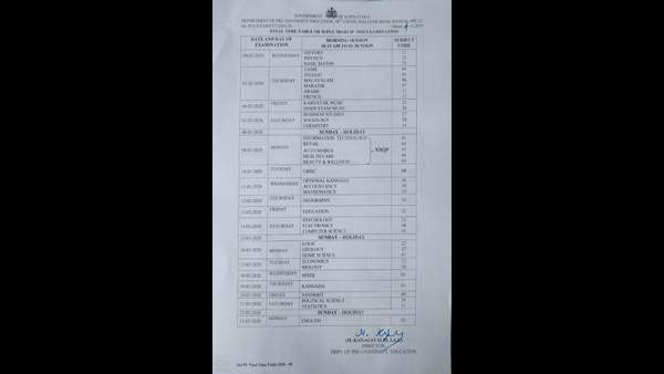Final Time Table Of Second PUC Examination