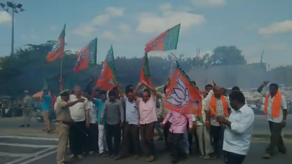 BJP Activists Celebration At Channapatna