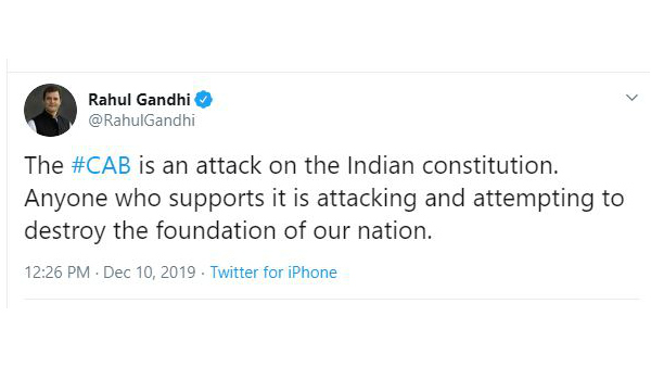 CAB is an attack on the Indian constitution.-Rahul Gandhi