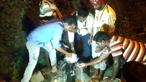 Water Flowing From Borewell In Draught Affected Chitradurga