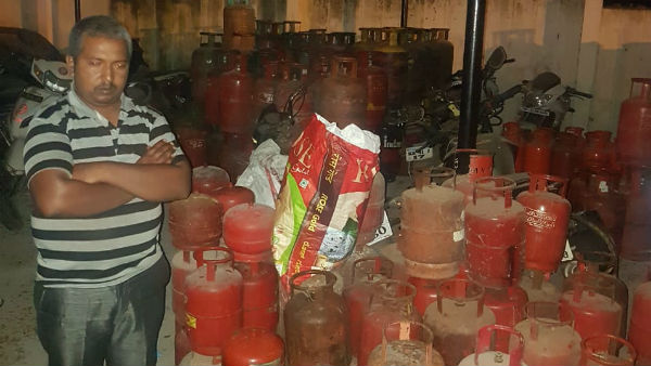 Police Arrested A Man Who Involved In Illegal Gas Refilling In Ramanagar